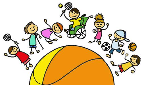 Eine bunte Grafik von einem Ball mit Kindern.