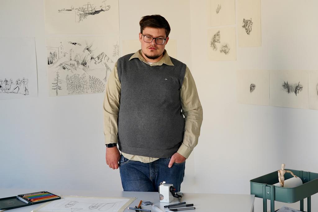 Elias von Martial an seinem Atelierplatz.